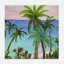 Aqua beach tropical art Tile Coaster