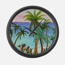 Aqua beach tropical art Large Wall Clock