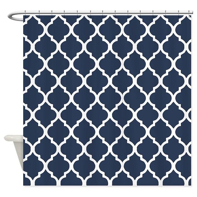 Navy Blue Quatrefoil Pattern Shower Curtain By