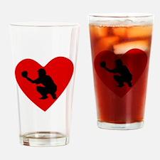 Baseball Catcher Heart Drinking Glass