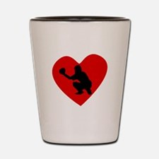 Baseball Catcher Heart Shot Glass
