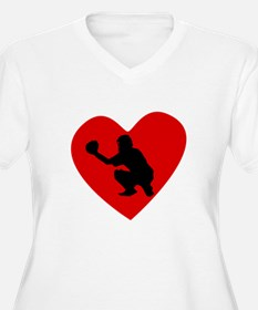 Baseball Catcher Heart Plus Size T-Shirt