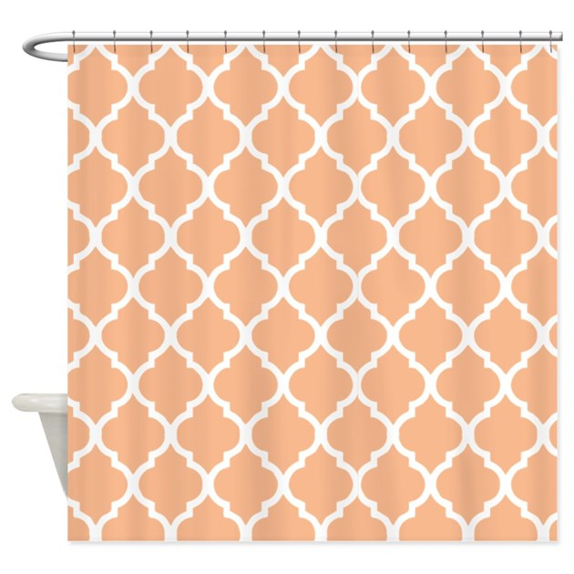 Peach Quatrefoil pattern Shower Curtain by ShowerCurtainsWorld