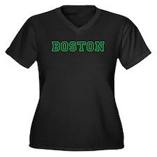 BOSTON Women's Plus Size V-Neck Dark T-Shirt