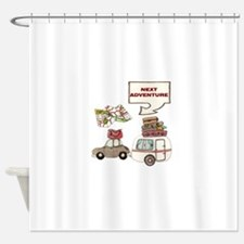 NEXTADVENTURE.png Shower Curtain
