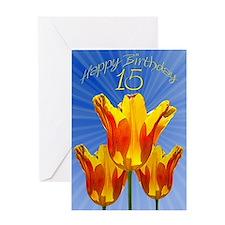 15th Birthday card, tulips full of sunshine Greeti