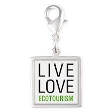 Live Love Ecotourism Silver Square Charm