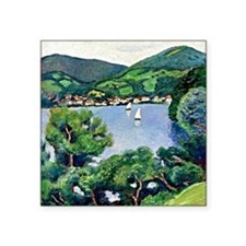 "August Macke - View of Tege Square Sticker 3"" x 3"""