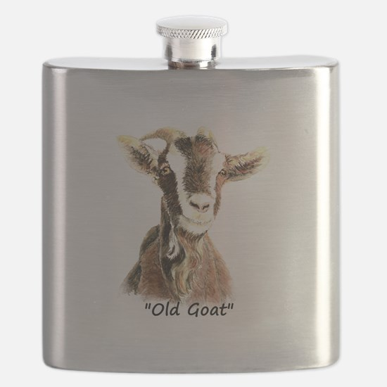 Old Goat Fun Quote for Him Flask