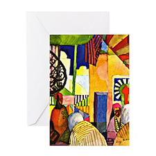 August Macke - In the Bazaar Greeting Card