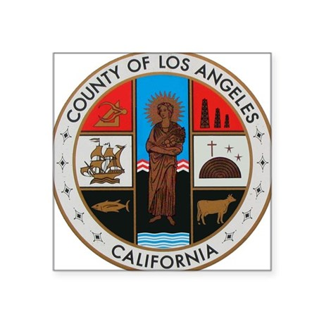 LA County Seal with Cross Oval Sticker