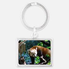 Adorable Climbing Red Panda Landscape Keychain
