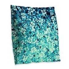 FlowerPowerinBlue-pillow4000 Burlap Throw Pillow