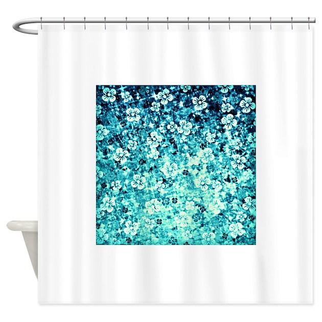 Flowerpowerinblue pillow4000 shower curtain by ebiemporium for Purple ombre shower curtain