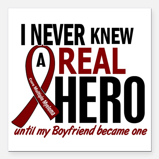 """Multiple Myeloma Real He Square Car Magnet 3"""" x 3"""""""