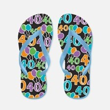 Colorful 40th Birthday Flip Flops