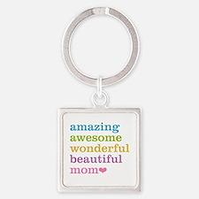 Amazing Mom Square Keychain