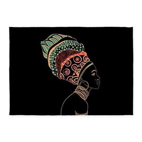 African Woman 5u0027x7u0027area Rug