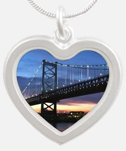 Benjamin Franklin Bridge Silver Heart Necklace