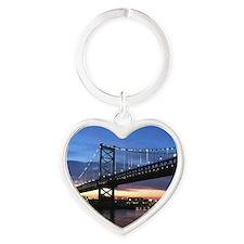 Benjamin Franklin Bridge Heart Keychain