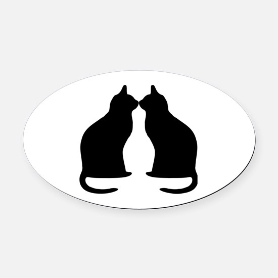 Black cats silhouette Oval Car Magnet