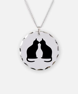 Black cats silhouette Necklace Circle Charm
