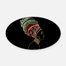 African Woman Oval Car Magnet