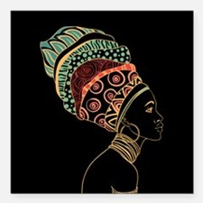 "African Woman Square Car Magnet 3"" x 3"""