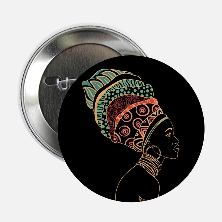 """African Woman 2.25"""" Button"""