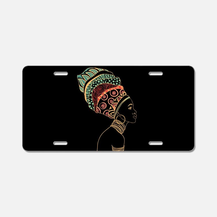 African Woman Aluminum License Plate