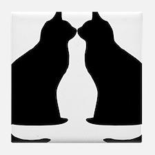 Black Cats Silhouette Tile Coaster