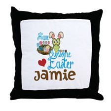Personalize Easter Owl Throw Pillow