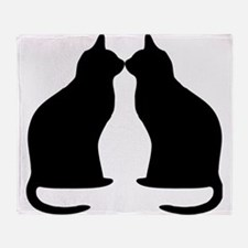 Black Cats Silhouette Throw Blanket