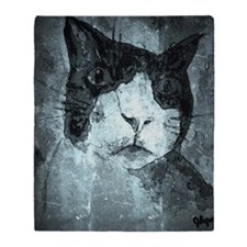 Black and White Cat. Throw Blanket
