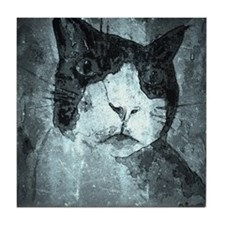 Black and White Cat. Tile Coaster