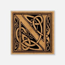 "Celtic Monogram N Square Sticker 3"" x 3"""