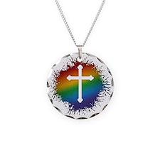 LGBT Christian Cross Necklace Circle Charm