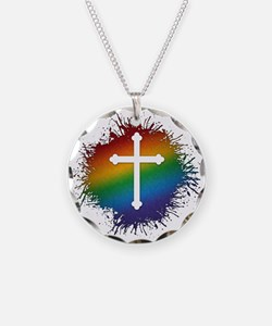 LGBT Christian Cross Necklace Circle Charm
