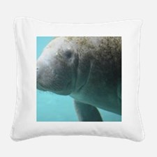 Swimming Manatee Square Canvas Pillow