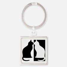Black and white cats Square Keychain