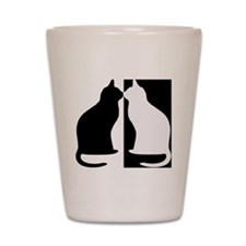 Black and white cats Shot Glass
