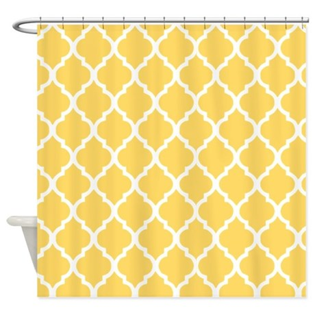 mustard yellow quatrefoil pattern shower curtain by