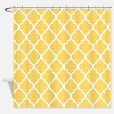Mustard Yellow Quatrefoil Pattern Shower Curtain