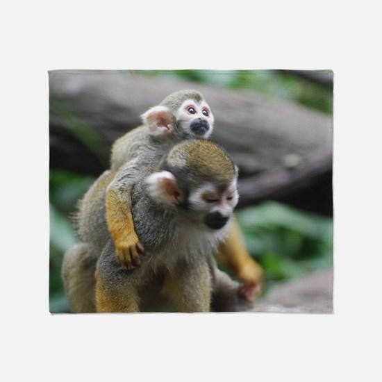 Pair of Squirrel Monkeys Throw Blanket