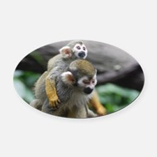 Pair of Squirrel Monkeys Oval Car Magnet