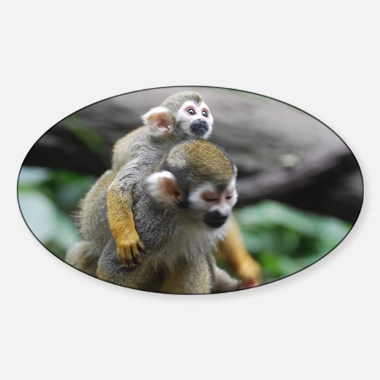 Pair of Squirrel Monkeys Sticker (Oval)