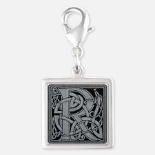 Celtic Monogram R Silver Square Charm