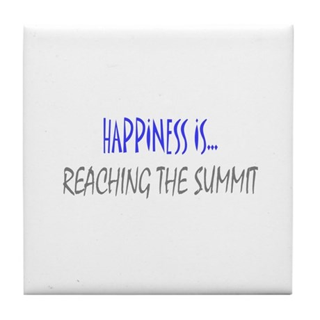 Happiness is Reaching Summit Tile Coaster