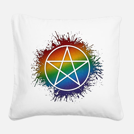 LGBT Pagan Pentacle Square Canvas Pillow