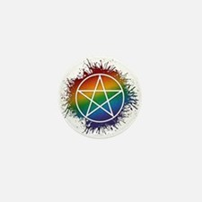 LGBT Pagan Pentacle Mini Button